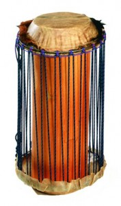 A Talking Drum made by Mark Shepard out of a piece of house column