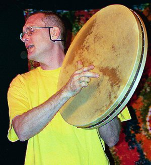 Mark Shepard overtone singing accompanied by large frame drum