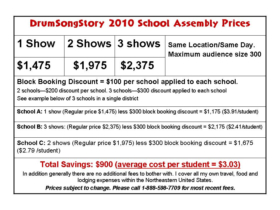 School Assemblies Performance Fees