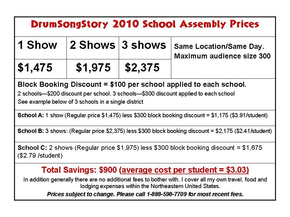 School Assemblies Performance Fees